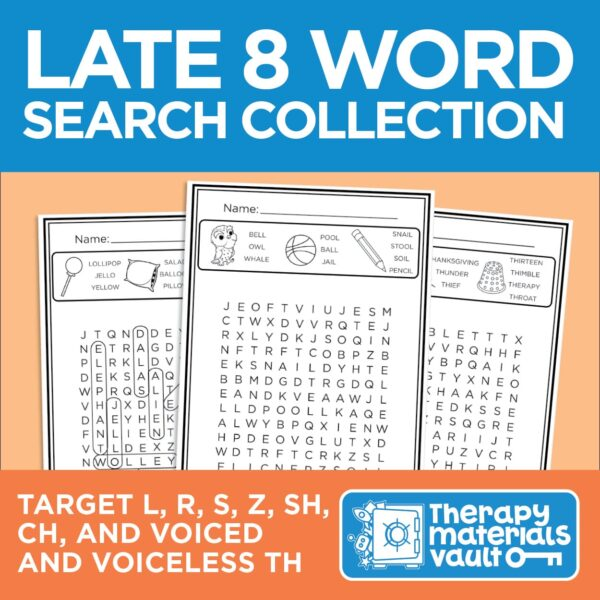 Late 8 Word Search Collection: Target /l/, /r/, /s/, /z/, /sh/, /ch/, voiced /th/ and voiceless /th/
