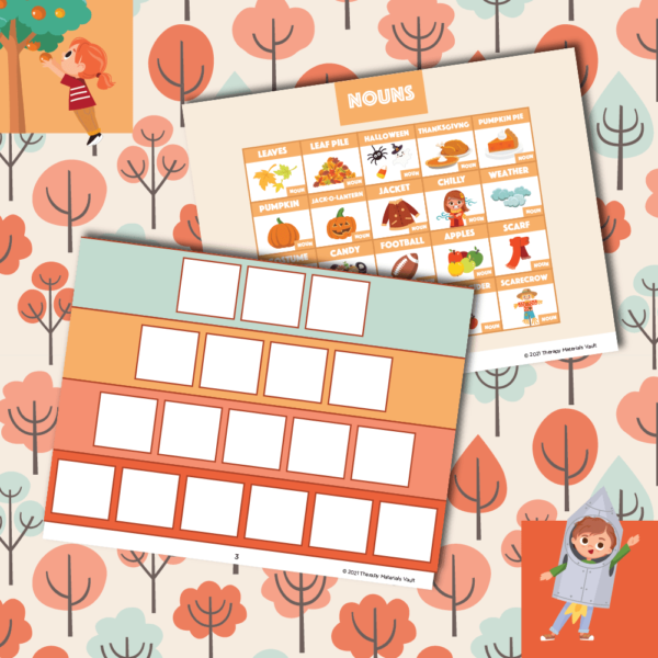 autumn verb sentence strips